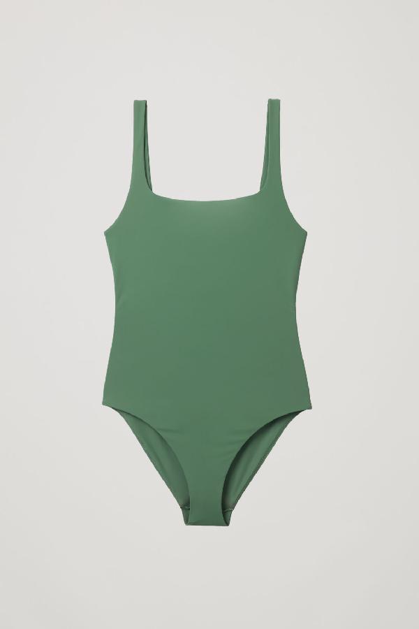 Cos Open-back Swimsuit In Green