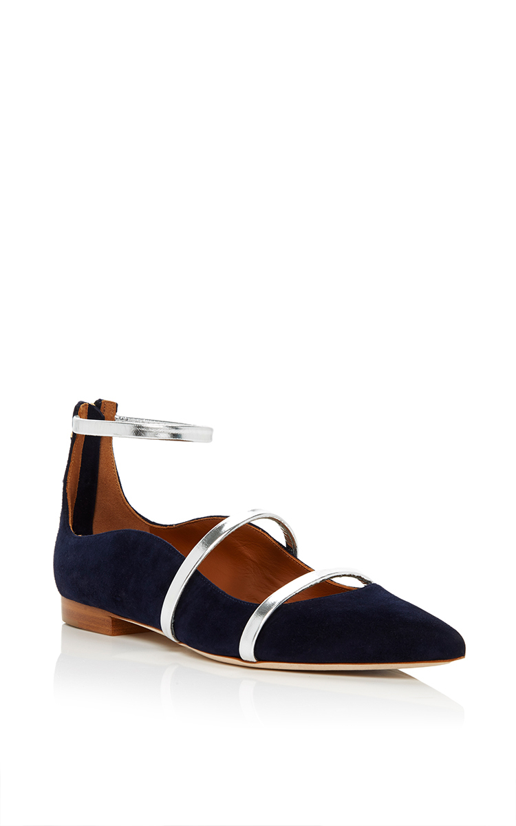 Malone Souliers Robyn Suede Flat Shoes In Navy