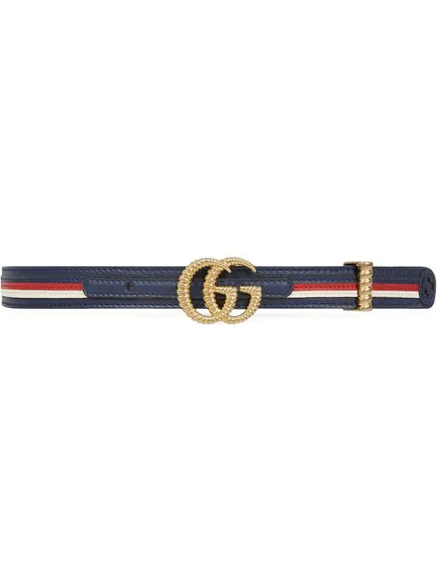 Gucci Multicolored Leather Belt W/ Textured Gg Buckle In Blue