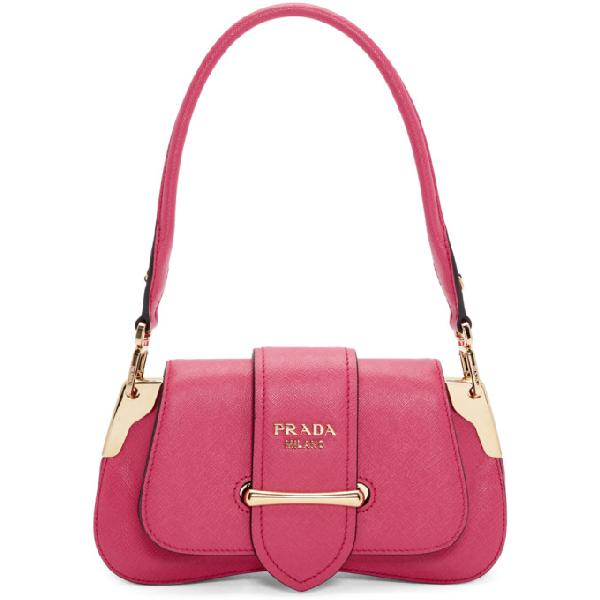 Prada Sidonie Textured-Leather Shoulder Bag In Pink