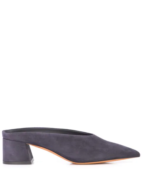 Vince Ralston Suede Pointed Mules In Coastal