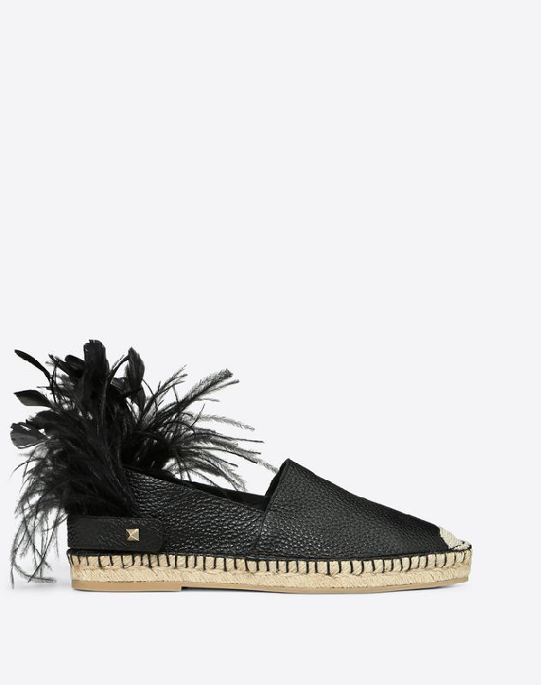 Valentino Garavani Vlogo Grainy Calfskin Espadrille With Feather Details Women Black 100% Calfskin 3