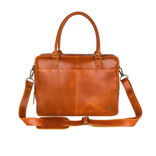 Mahi Leather Buffalo Leather Oxford Zip-Up Satchel Briefcase Bag In Tan