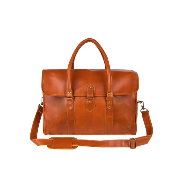 Mahi Leather Buffalo Leather Drake Holdall Weekend/Overnight Bag In Tan