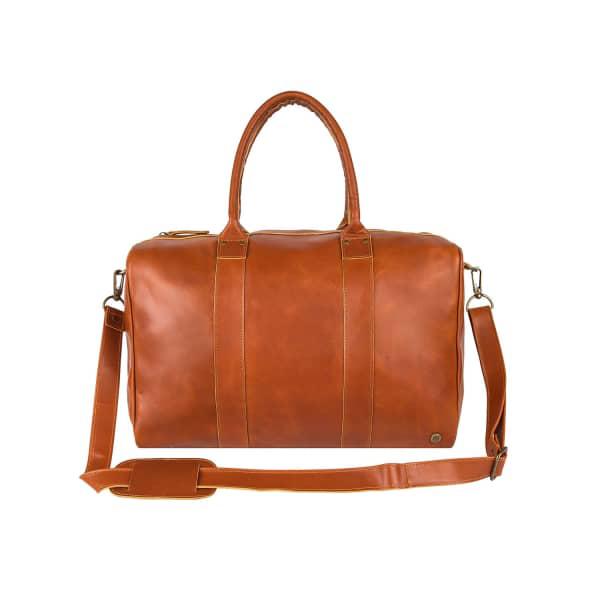 Mahi Leather Buffalo Leather Cortes Overnight Bag In Tan