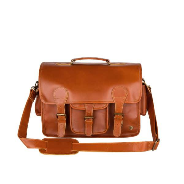 Mahi Leather Large Buffalo Leather Harvard Satchel Messenger Bag In Tan