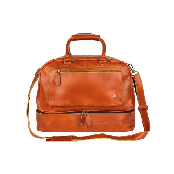 Mahi Leather Large Buffalo Leather Raleigh Holdall Bag With Under Compartment In Tan