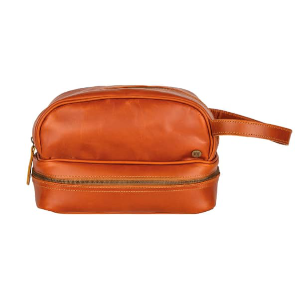 Mahi Leather Buffalo Leather Raleigh Toiletry Bag In Tan
