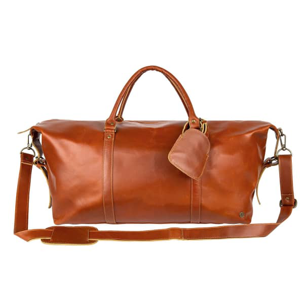 Mahi Leather Buffalo Leather Long Armada Duffle Large Weekend/Overnight Holdall Bag In Tan