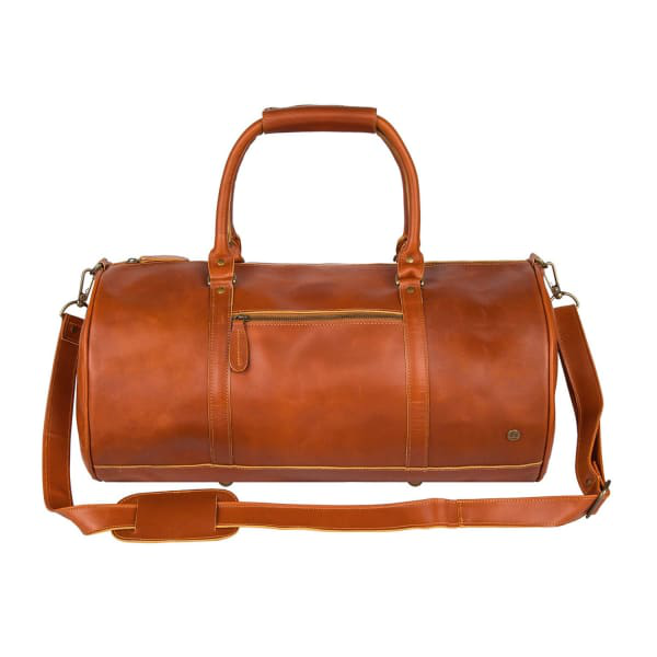 Mahi Leather Buffalo Leather Weekend Classic Duffle/Holdall - Overnight Gym Bag In Tan