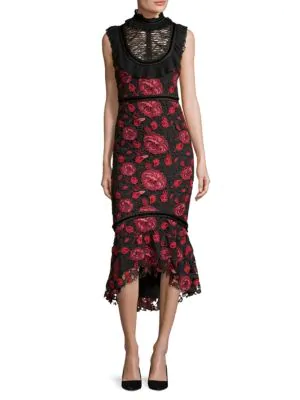 Rose Lace High Neck Mermaid Dress In Black Red