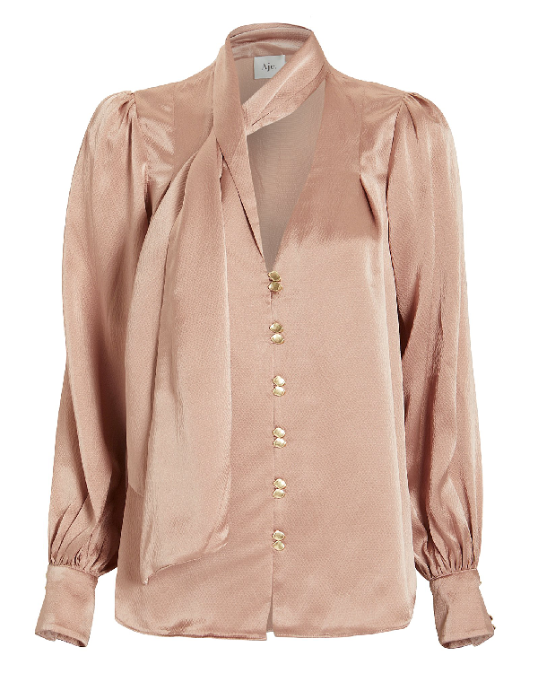 Aje Astrid Tie Neck Silk Blouse In Beige