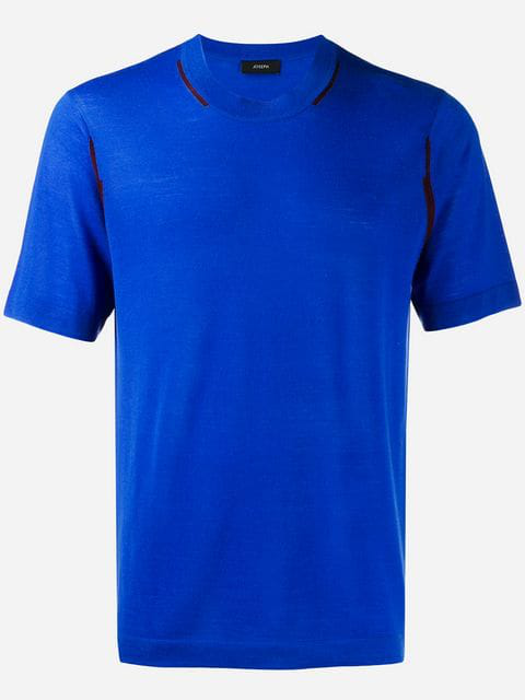 Joseph Short-sleeve Fitted Sweater In Blue