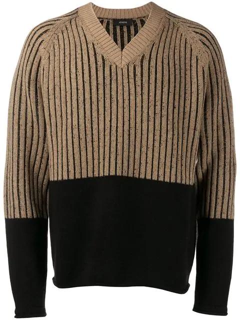 Joseph Contrast Long-sleeve Sweater In Brown