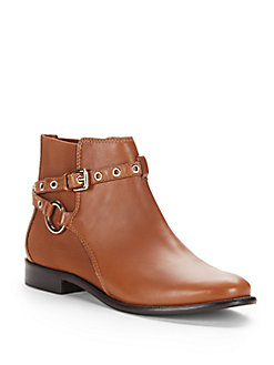 Diane Von Furstenberg Rikki Leather Ankle Boots In Sandal Wood