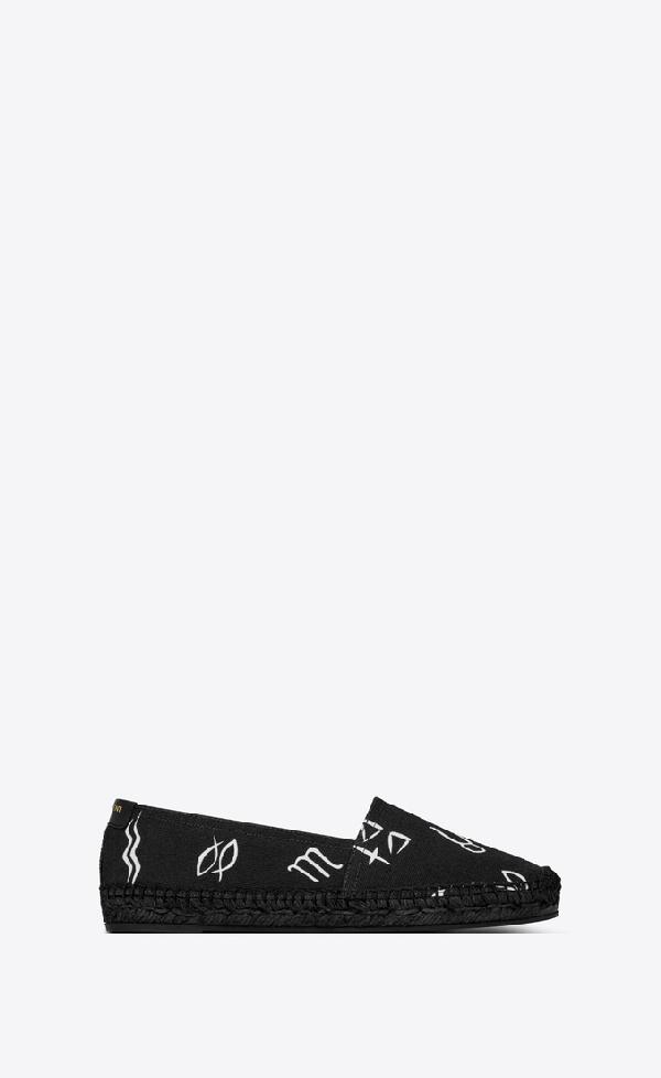 """Saint Laurent Monogram Espadrilles In """"Horoscope"""" Canvas In Black"""