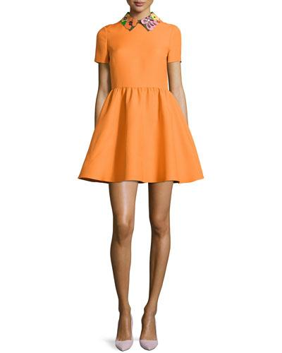 Valentino Floral-Collar Short-Sleeve Dress, Carrot/Multi In Carrot Ora