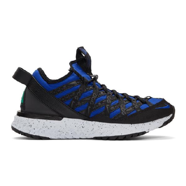 Nike Acg React Terra Gobe Ripstop Sneakers In Blue,Black