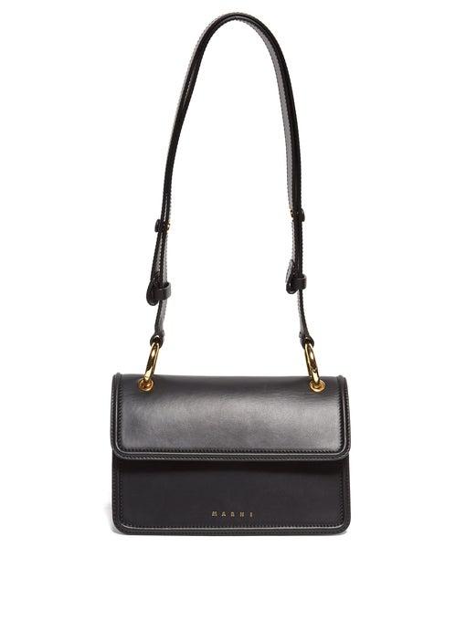 Marni Small Beat Leather Cross-Body Bag In Black Multi