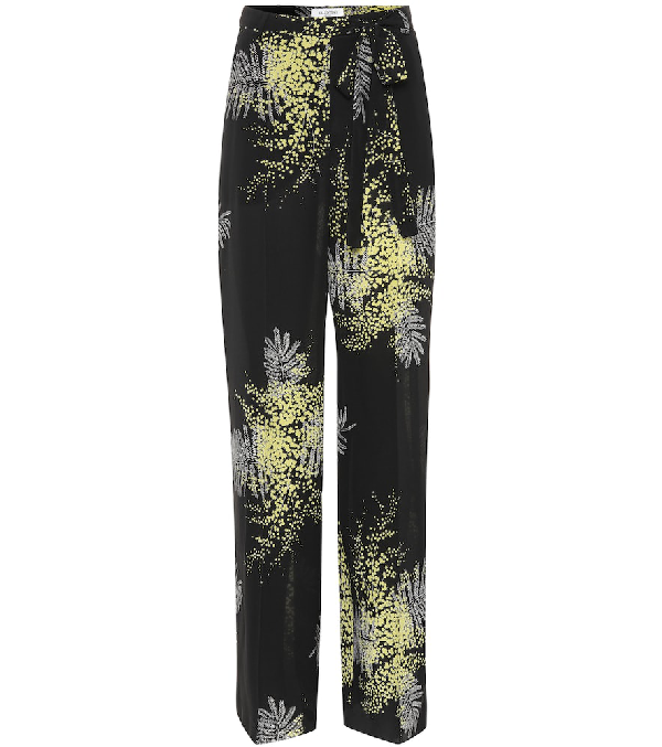 Valentino Mimosa-Print Silk Wide-Leg Pants In Black