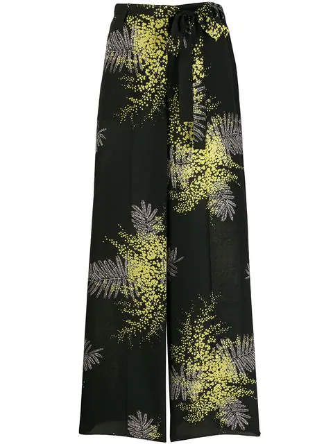 Valentino Mimosa-Print Silk Wide-Leg Pants In Black