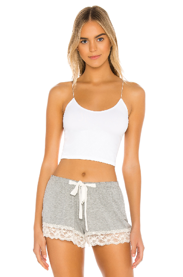 Free People Skinny Strap Cropped Camisole In White