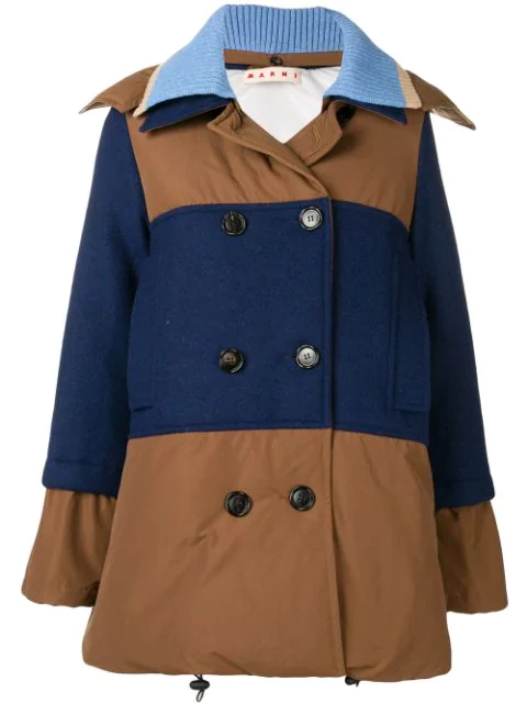 Marni Panelled Wool And Shell Coat In Brown