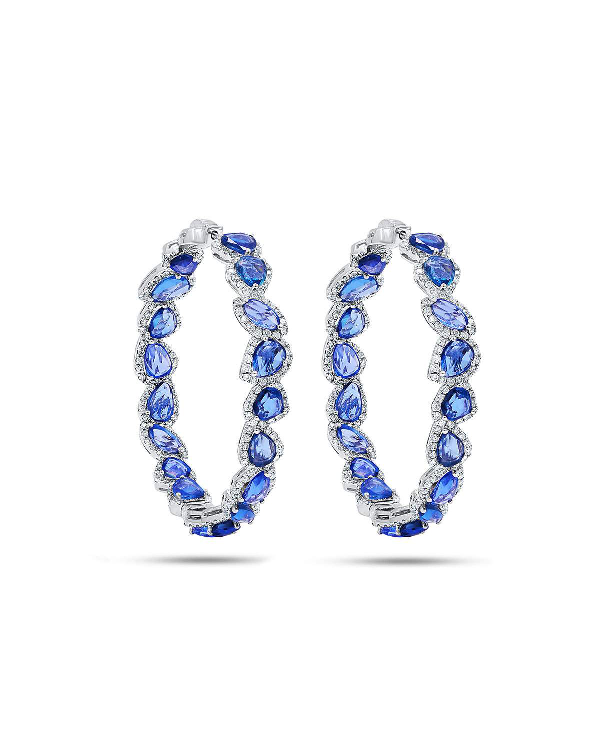 Diana M. Jewels 18K Blue Sapphire & Diamond Hoop Earrings