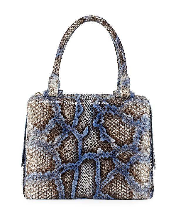 Nancy Gonzalez Python Medium Top Handle Satchel Bag In Blue Py349