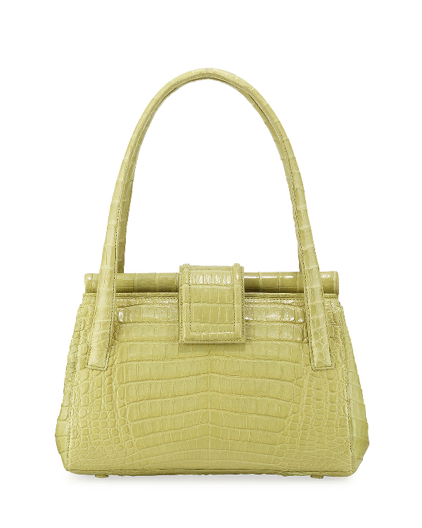 Nancy Gonzalez Crocodile Medium Top Handle Shoulder Bag In Green Fh5