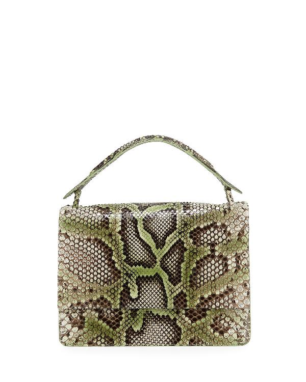 Nancy Gonzalez Python Medium Top Handle Shoulder Flap Bag In Green Py345
