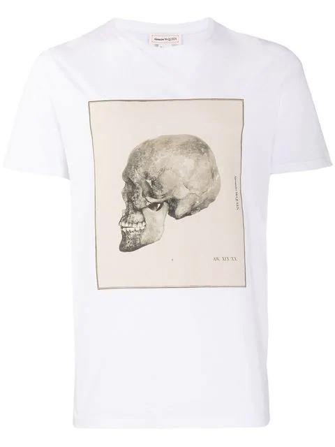 Alexander Mcqueen Men's Study Skull Short-Sleeve Graphic T-Shirt In White
