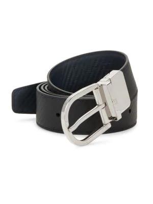 Dunhill Men's Reversible Leather Buckle Belt In Black