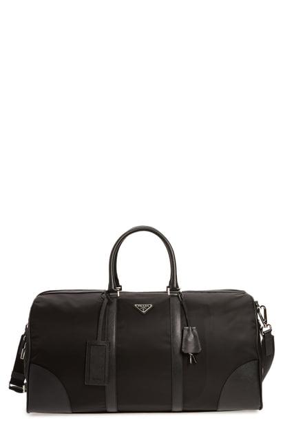 67841b6b6bce68 Prada Nylon & Saffiano Leather Bowling Bag - Black In Nero | ModeSens