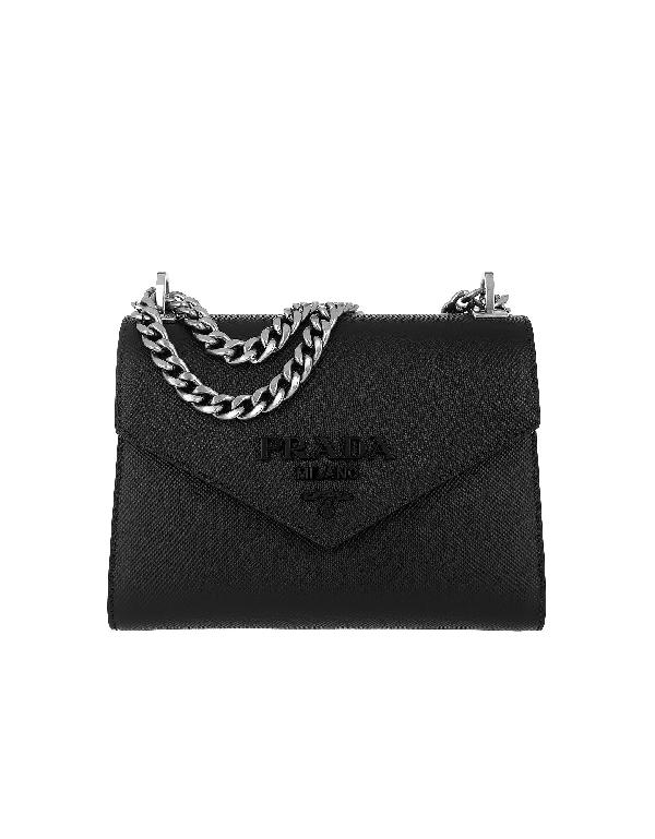 20ca8ad56fb5 Prada Monochrome Saffiano Leather Shoulder Bag - Black
