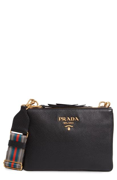 b25373b54571 Prada Vitello Daino Double Compartment Leather Crossbody Bag In Nero ...