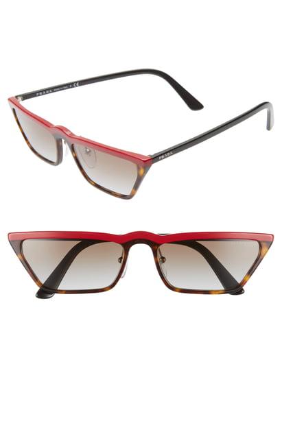Prada Ultravox 58Mm Cat Eye Sunglasses - Burgundy/ Black Havana Grad