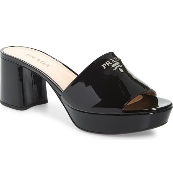 Prada Platform Slide Sandal In Black Patent