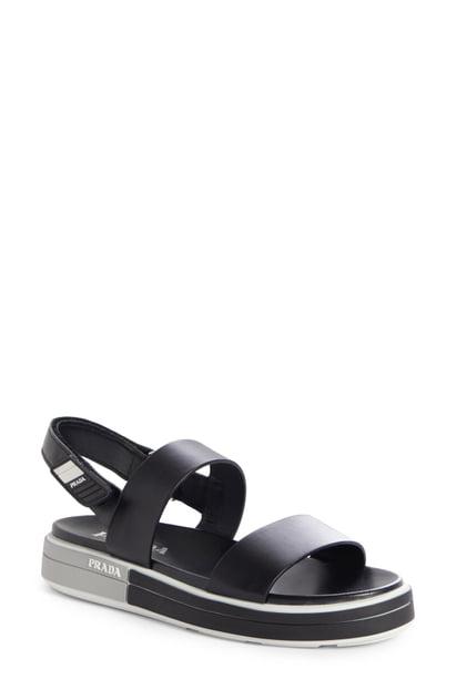 Prada Logo Heel Sport Sandal In Black