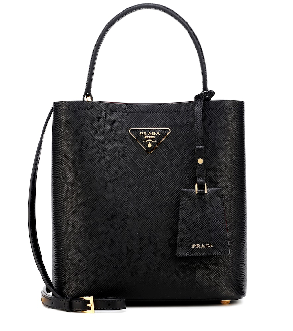 f2977985ce70 Prada Panier Medium Leather Shoulder Bag In Black | ModeSens