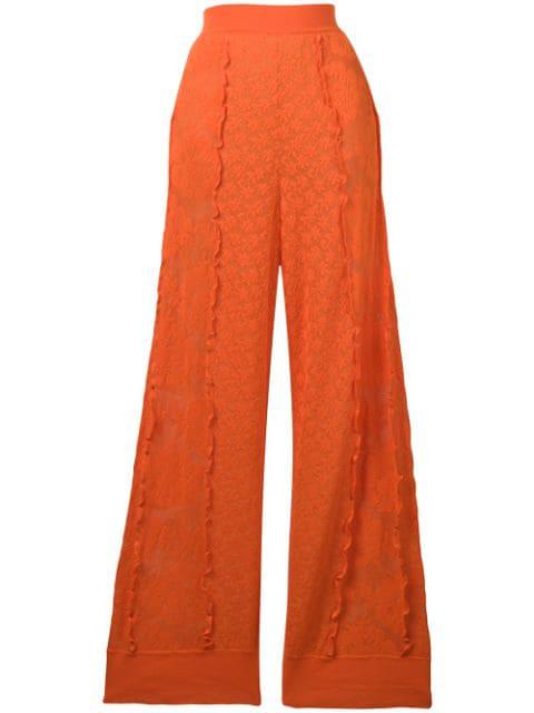 Stella Mccartney Linear Lace Pants Over Boy Shorts In Orange