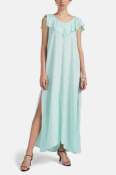 Zadig & Voltaire Reen Leopard Jacquard Silk Maxi Dress In Blue