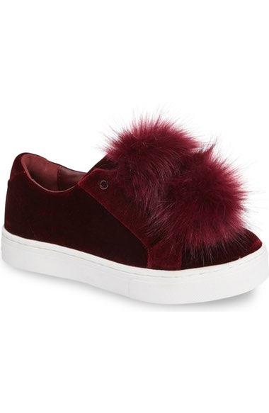 e90004d85ae6 Sam Edelman  Leya  Faux Fur Laceless Sneaker (Women) In Port Wine Fabric