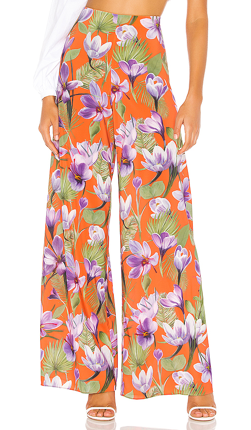 Alice And Olivia Alice + Olivia Athena Wide Leg Pant In Orange. In Floral Palm Coral