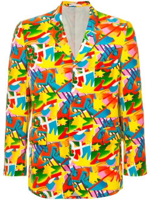 Pre-owned Comme Des Garçons Graffiti Stars Blazer In Multicolour