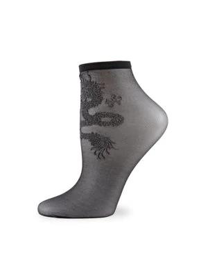 Natori Women's Dragon Sheer Shortie Socks In Black Grey