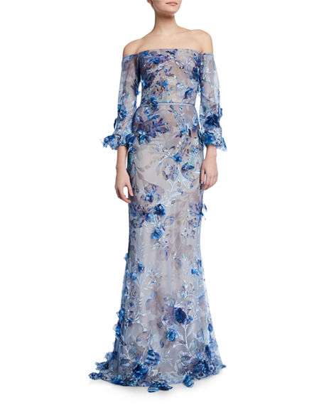 0bb9243cc4 Marchesa Notte Off-The-Shoulder Bishop-Sleeve 3D Floral-Embroidered Gown In