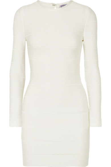 Herve Leger Bandage Mini Dress In White