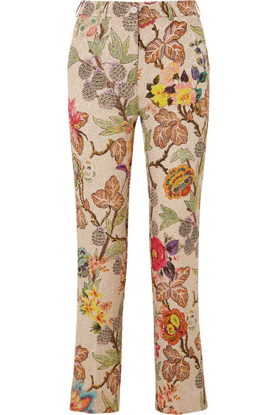 Etro Cropped Floral Brocade Straight-leg Pants In Cream