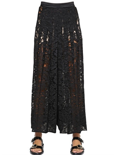 Givenchy Cotton-Blend Corded Lace Straight-Leg Pants In Black